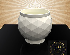 Decorative Triangulated Container Pot for 3D print model 1