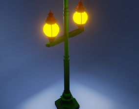 Low Poly Street Lamp 3D Model low-poly