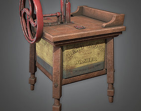 Old Stamped Wooden Washer Antiques - ATQ - PBR 3D model 1