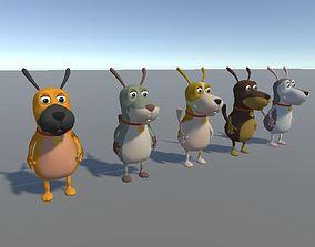 rigged Cartoon Style Dog Model