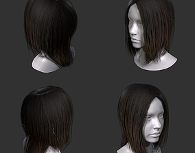 realtime low poly hair for games 3D model
