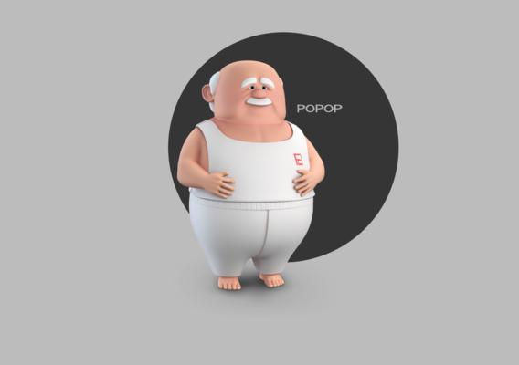 Popop Stylised Male Elderly Charcter AR friendly texture atlas