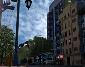 City street 3D model animated
