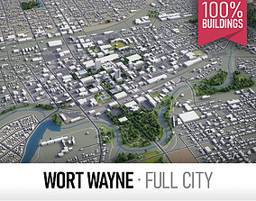 Fort Wayne - city and surroundings 3D asset