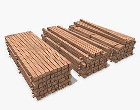 Wooden Beams 3D asset realtime