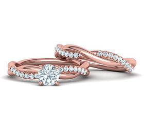 Twisted Wedding Set with 5mm Stone French Pave Setting 3D