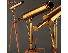3D 19th C Parisian Brass Telescope