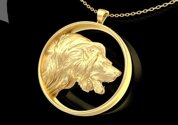 Lion roar Sculpture Pendant Jewelry Gold 3D print model