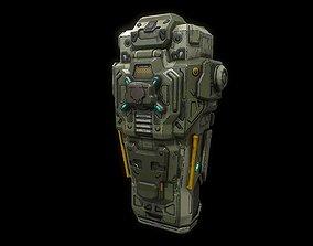 Low poly sci fi drop pod 3D model