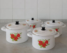 3D model Kitchen pots set