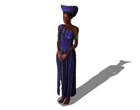 3D animated African Female Purple