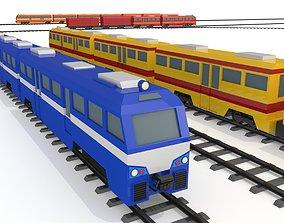 Train - Rail transport - Low Poly - Cartoon 3D model