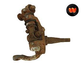 3D Rusty Wheel Axle Part Raw Scanned
