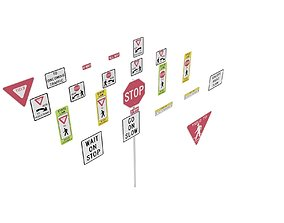 3D model Road Sign US R1 Series Stop And Yield BIM