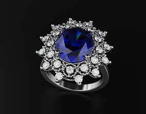 3D print model Sapphire Engagement Ring