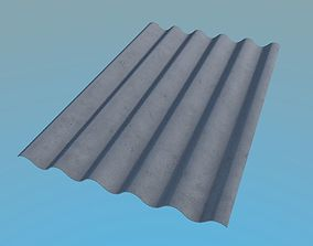 3D asset Slate Roof 1125x1750mm 6 Waves