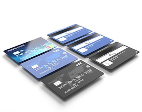 Credit cards 3d model low-poly