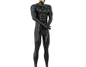 Black Male Mannequin with Golden Mask 144 3D