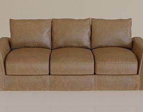 Contemporary modern leather sofa2 tan 3D model