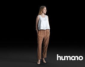 Humano Young woman standing and looking 0518 3D model