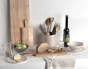 3D Utensils Choping Boards Fruits Jar Towel and Wine