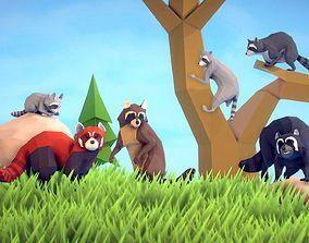 3D asset Poly Art Raccoons and Red Panda