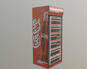 3D asset cocacola fridge low poly gameready
