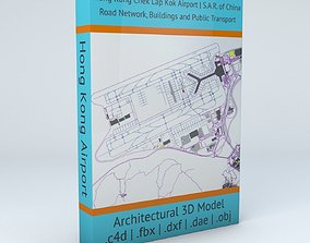 Hong Kong HKG Airport Roads Buildings and Public 3D 2