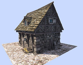 medieval cottage 3D asset