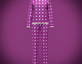 3D model cute pyjamas - polka dots pajamas