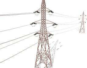 3D model Electricity Pole 31 Weathered