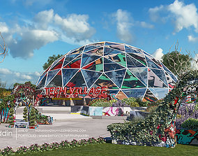 geodesic dome with trapezoidal entrances 3d model