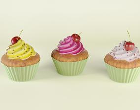 Cupcakes 3D model sprinkles