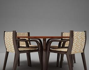 3D model terrace dinning set modern tropic