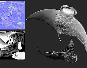 3D model Manta Ray Low Poly Game Ready LOD
