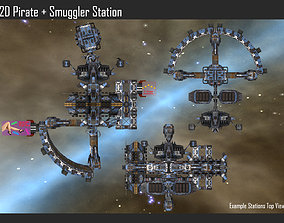 2D Pirate Smuggler Station 3D model