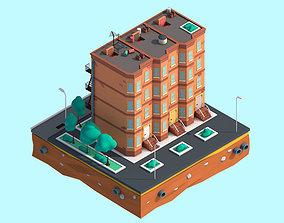 Cartoon Low Poly New York Street House 3D asset