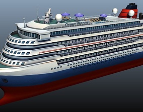 3D asset Cruise Liner - low poly