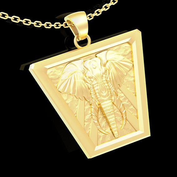 Wild Elephant pendant jewelry Gold 3D print model