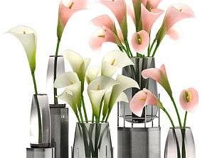 3D model Calla flower bouquet in a Vase 114