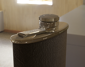 3D model English XXth century vintage flask