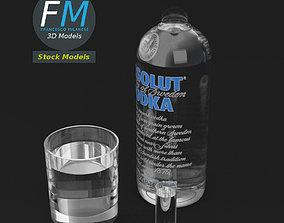 3D model PBR Absolute vodka and glasses set