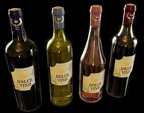 Wine Bottles Collection 3D model rose