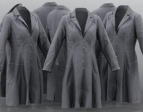 Grey Pattern Dress Buttoned 3D model