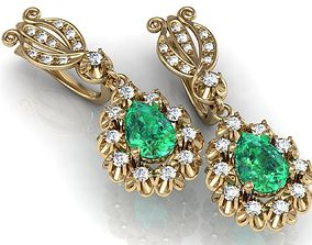 3D print model Earrings with diamonds and emeralds