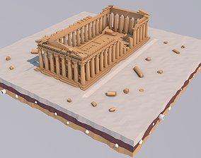 Low Poly Parthenon in Athens Greece Landmark 3D model