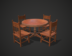 Wooden Table and Chairs 3D model