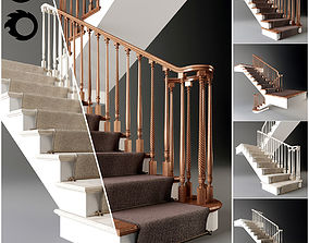 Classical staircase with carpet - 2011 - corona - 3D
