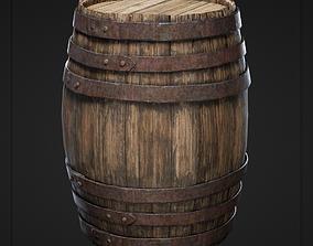 Old Wooden Barrel 3D model realtime
