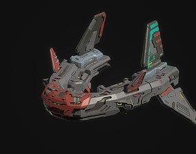 3D asset Sci fi V fighter spaceship